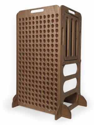 dark brown wooden learning tower montessori