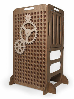 dark brown wooden learning tower with cog wheels for play