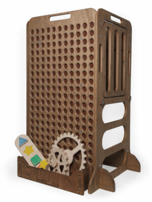 dark brown wooden educative learning tower with toys