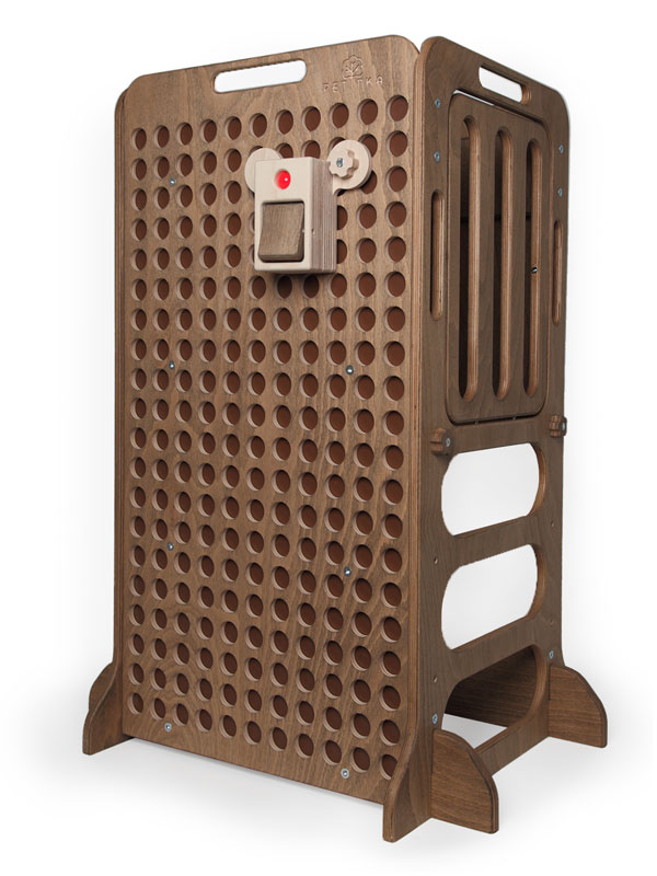 dark brown wooden learning tower with light switcher