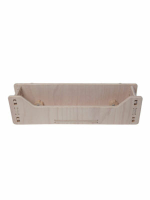 natural wooden storage shelf for activity board
