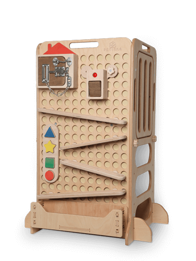 montessory learning tower with toys for kids