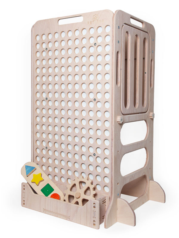 white wooden kids learning tower with toys shelf for kids play