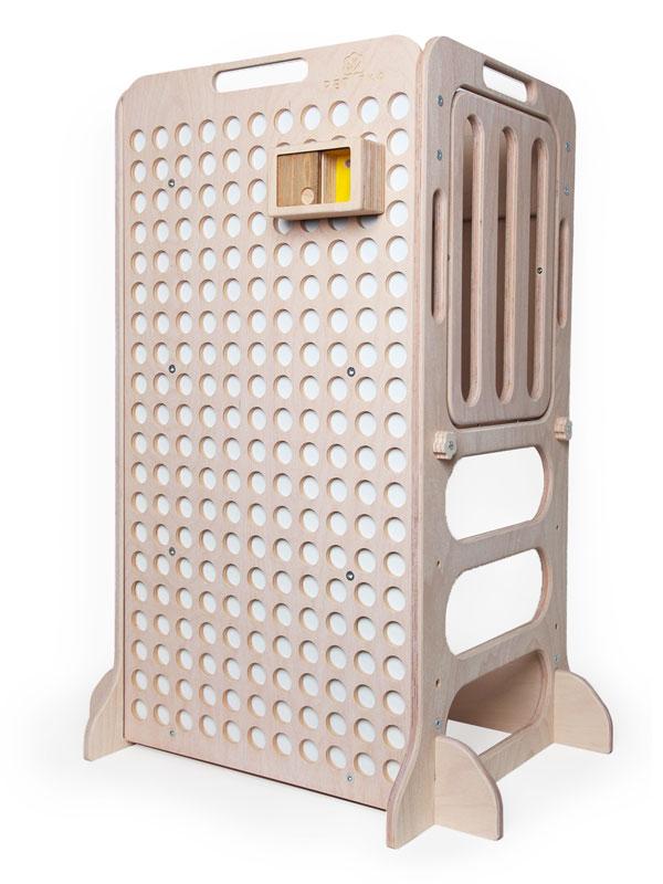 white wooden educative learning tower with montessori mini box