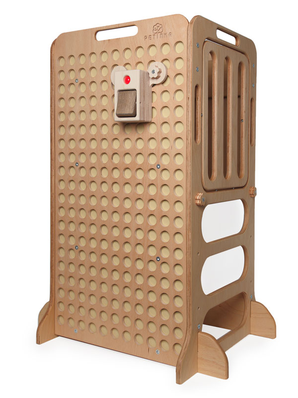 natural wooden learning tower for kids with light switch