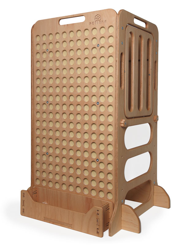 montessori wooden learning tower with shelf