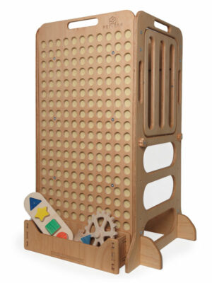 montessori wooden toys for kids in shelf on learning tower