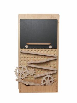 montessori activity board with blackboard